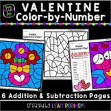 Valentines Day Addition and Subtraction Color by Number