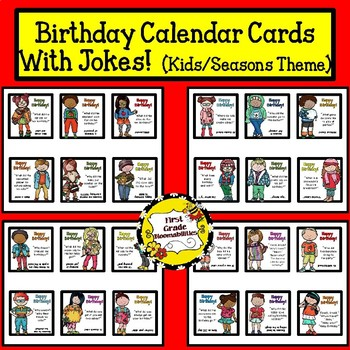 Birthday Calendar Cards with Jokes (Seasonal Kid Theme)