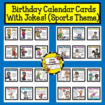 Birthday Calendar Cards with Jokes (Sports Theme)