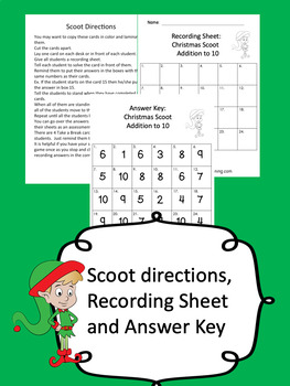 Christmas Math Game for Kindergarten and First Grade