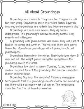 Rodents: Groundhogs ~ Close Reading on iPads