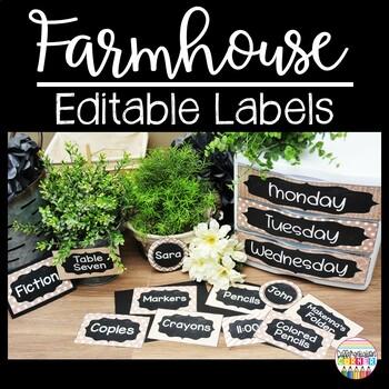 Rustic Chalkboard Classroom Decor Editable Labels