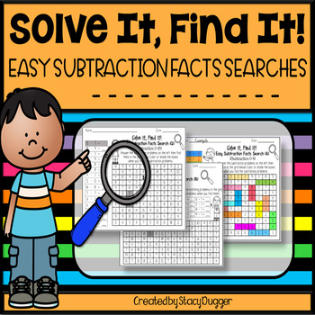Solve It Find It Easy Subtraction Facts Searches