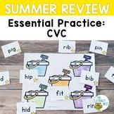 Summer Review: CVC | Phonics Packs Activites Words Worksheets