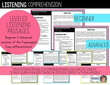 Listening Comprehension BUNDLE: Great ELA Test Prep Activity
