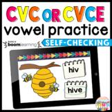 CVC or CVCe, Short vs. Long Vowel Phonics Boom Cards