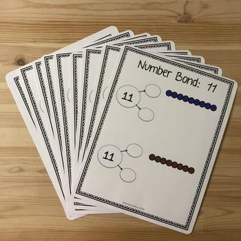 Montessori colored bead number bonds 11-18
