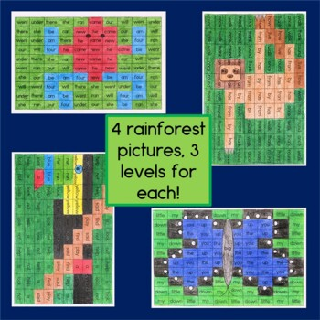 Sight Word Mystery Pictures: Rainforest Theme