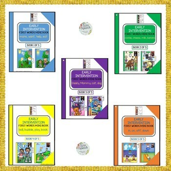 5 COLORFUL & USEFUL SPEECH THERAPY EARLY INTERVENTION FIRST WORDS MINI BOOKS