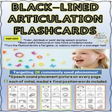 Black-Lined Illustrated Articulation Flashcards- 28 phonemes