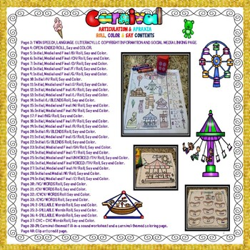 50% off new post! CARNIVAL ARTICULATION & APRAXIA ROLL, SAY & COLOR