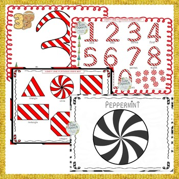 Candy Cane Playdough Recipe and Letter, Shape & Number Learning Mats