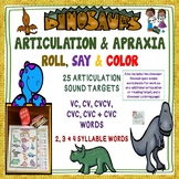 DINOSAUR ARTICULATION & APRAXIA ROLL, SAY & COLOR