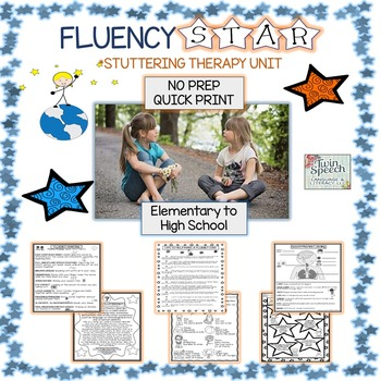 FLUENCY STAR STUTTERING THERAPY UNIT: NO PREP! COMPREHENSIVE!