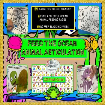 Feed The Ocean Animal Articulation: 60 NO PREP sheets, 200 flashcards, 6 animals