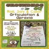 Groundhog Day Roll, Say & Color Articulation & Apraxia