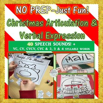 """NO PREP–Just Fun! Christmas Articulation & Verbal Expression Color, Say & """"Feed"""""""