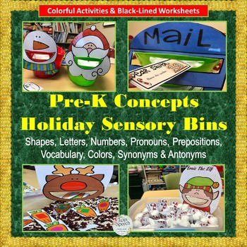Pre-K Concepts & Vocabulary Winter Holiday Sensory Bins + Black-lined Sheets