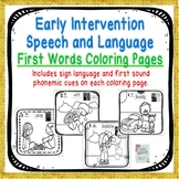 FIRST WORDS EARLY INTERVENTION COLORING PAGES FOR SPEECH THERAPY