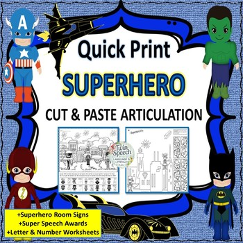 Superhero Color, Cut & Paste Articulation + FREE SAMPLE WORKSHEETS