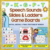 Speech Sounds Slides & Ladders Game Boards: /F/, /G/, /K/, /P/, /T/+ flashcards