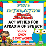 Speech Therapy: Beneficial Back To School Apraxia Unit: VC, CV, CVCV & CVC WORDS