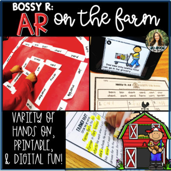 Bossy R: AR on the Farm - Dominoes, Reading Passages, QR Code Hunt
