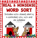 Real and Nonsense Word Sort - Dog-themed