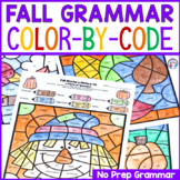 Fall Grammar Activities Color-By-Code Parts of Speech