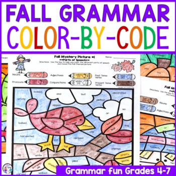 Fall Grammar Activities | Color By Code Parts of Speech