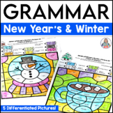 Grammar Activities Color By Code | Parts of Speech Winter Coloring Pages
