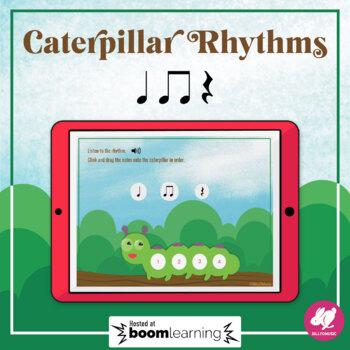 Caterpillar Rhythms: Quarter Note, Rest, 8th Notes - BOOM Cards