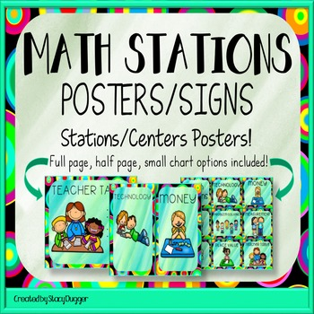 Math Stations or Centers Posters in Green
