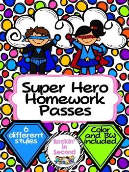 Super Hero Homework Passes