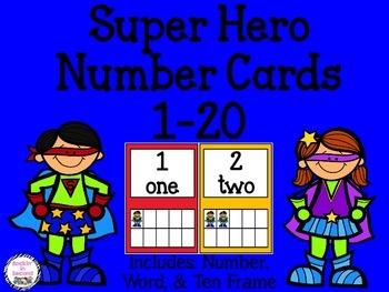 Super Hero Number Cards