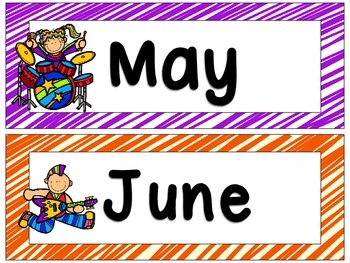 Rock Star Theme Months of the Year Signs