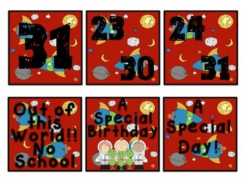 Space Calendar Set
