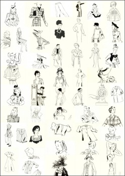50 out of copyright outline drawings of women, men and children