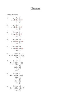 50 practice questions on solving algebraic equations with integer coefficients