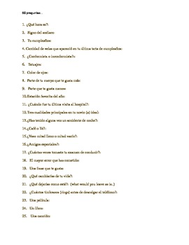 50 preguntas.  A fun review activity for upper level Spanish classes.