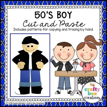 50's Boy Cut and Paste (50th Day of School)