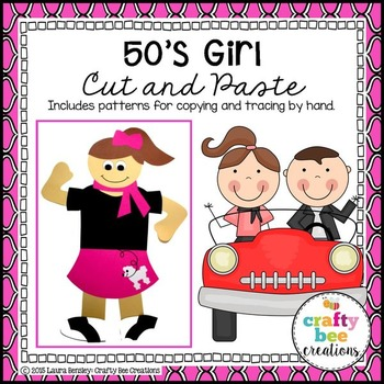 50's Girl Cut and Paste (50th Day of School)