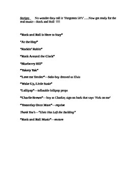 50's Music Show/basic script and song outline