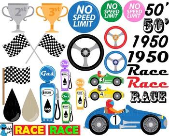 50's Race Car Props V1 - Clip Art Digital Files Personal Commercial Use cod226