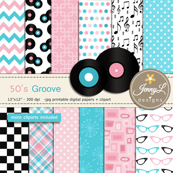 50's Retro Diner Digital Papers and Cliparts