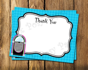 50's Sock Hop Flat Thank You Note Cards