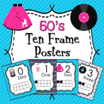 50's Sock Hop Ten Frame Posters - 0 to 20