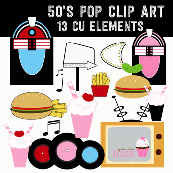 50's Style Retro Vintage Clip Art Record Burger Shop Digital Clip Art Set