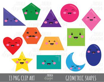 50% sale GEOMETRIC SHAPES clipart, kawaii geometric shapes clipart, 2D shapes