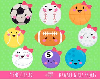 GIRLS SPORTS CLIPART, KAWAII SPORTS
